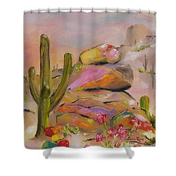 Shower Curtain featuring the painting Gold-lined Rocks by Judith Rhue