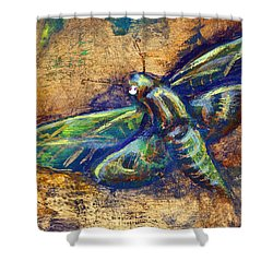 Gold Moth Shower Curtain