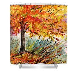Shower Curtain featuring the painting Gold On A Blue Day by John Williams