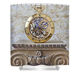 Gold Skeleton Pocket Watch Shower Curtain by Garry Gay