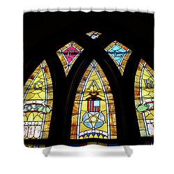 Gold Stained Glass Window Shower Curtain by Thomas Woolworth