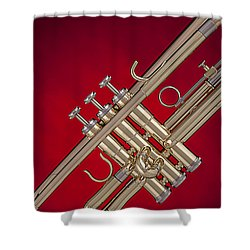 Gold Trumpet Isolated On Red Shower Curtain