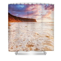 Golden Bay Shower Curtain by Evgeni Dinev