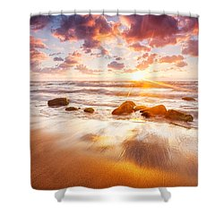 Golden Beach Shower Curtain by Evgeni Dinev