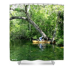 Golden Canoe Launch Shower Curtain by Marilyn Holkham