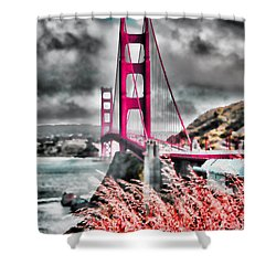Shower Curtain featuring the photograph Golden Gate Bridge - 5 by Mark Madere