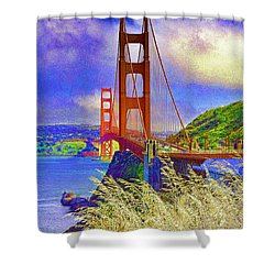 Shower Curtain featuring the photograph Golden Gate Bridge - 6 by Mark Madere