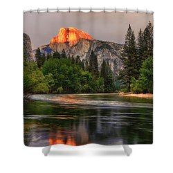 Golden Light On Halfdome Shower Curtain