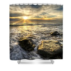 Golden Nuggets Shower Curtain by Debra and Dave Vanderlaan