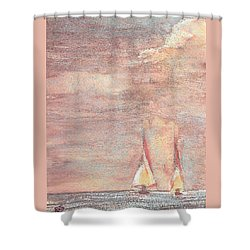 Shower Curtain featuring the painting Golden Sails by Richard James Digance