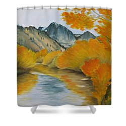 Shower Curtain featuring the painting Golden Serenity by Jindra Noewi