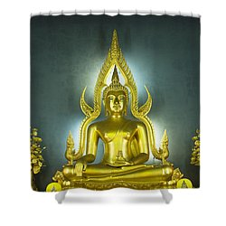 Golden Sitting Buddha Shower Curtain by Gloria and Richard Maschmeyer
