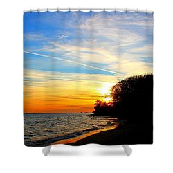 Golden Sunset Shower Curtain by Davandra Cribbie