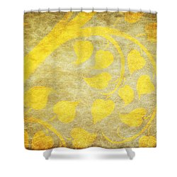 Golden Tree Pattern On Paper Shower Curtain by Setsiri Silapasuwanchai