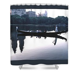 Gondola On The Central Park Lake Shower Curtain by Tom Wurl