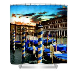 Gondolas Under A Summer Sunset Shower Curtain