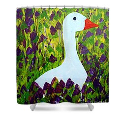 Shower Curtain featuring the painting Goose by Barbara Moignard