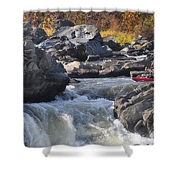 Grace Under Pressure On The Potomac River At Great Falls Park Shower Curtain