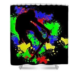 Graffiti Paint Splotches Skateboarder Shower Curtain by Elaine Plesser
