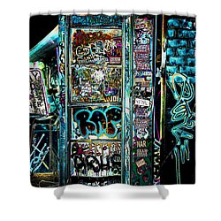 Graffitied Phone Booth Shower Curtain
