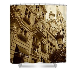 Grand Place Perspective Shower Curtain by Carol Groenen