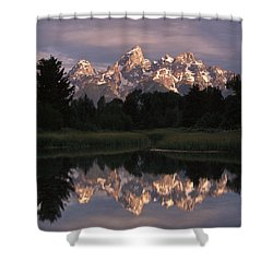 Grand Teton Range And Cloudy Sky Shower Curtain by Tim Fitzharris