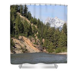 Grand Tetons From Snake River Shower Curtain by Living Color Photography Lorraine Lynch