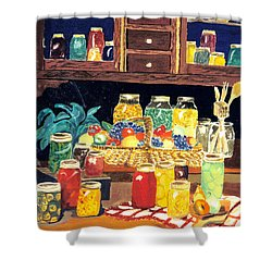 Shower Curtain featuring the painting Granny's Cupboard by Julie Brugh Riffey