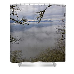 Grants Pass In The Fog Shower Curtain by Mick Anderson