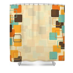 Graphic Square Pattern Shower Curtain by Setsiri Silapasuwanchai