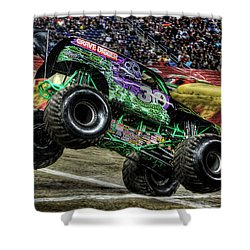 Grave Digger At Ford Field Detroit Mi Shower Curtain by Nicholas  Grunas