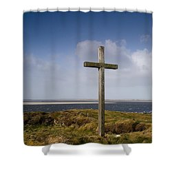 Grave Site Marked By A Cross On A Hill Shower Curtain by John Short