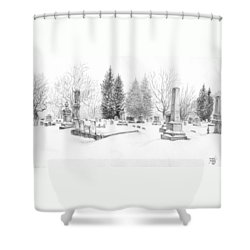 Graveyard In The Snow Shower Curtain