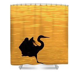 Shower Curtain featuring the photograph Great Blue Heron Landing In Golden Light by Randall Branham