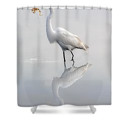 Shower Curtain featuring the photograph Great Egret With Lunch by Dan Friend