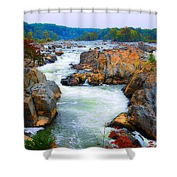 Great Falls On The Potomac River In Virginia Shower Curtain