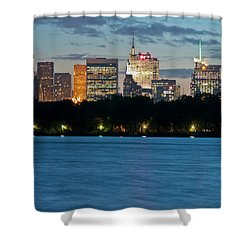 Great Pond Skyline Shower Curtain