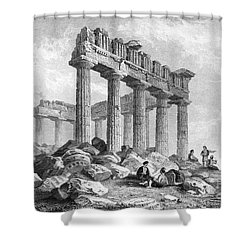 Greece: The Parthenon 1833 Shower Curtain by Granger