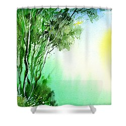 Green 1 Shower Curtain by Anil Nene