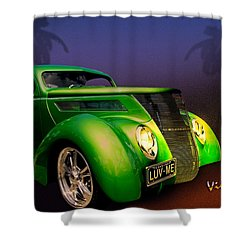 Green 37 Ford Hot Rod Decked Out For A Tropical Saint Patrick Day In South Texas Shower Curtain by Chas Sinklier