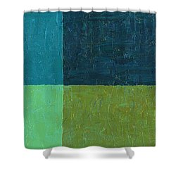 Green And Blue Shower Curtain by Michelle Calkins
