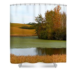 Green And Gold Shower Curtain by Stuart Turnbull