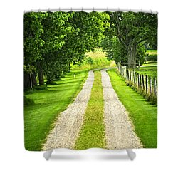Green Farm Road Shower Curtain by Elena Elisseeva