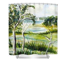 Green Land Shower Curtain by Clara Sue Beym