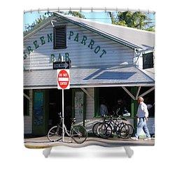 Green Parrot Bar In Key West Shower Curtain by Susanne Van Hulst
