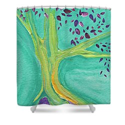 Green Tree Shower Curtain by First Star Art