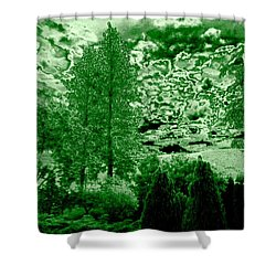 Green Zone Shower Curtain by Will Borden