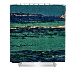 Shower Curtain featuring the photograph Grenadines Umbrella by Don Schwartz