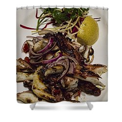 Griiled Fresh Greek Octopus Shower Curtain by David Smith