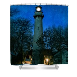 Grosse Point Lighthouse Before Dawn Shower Curtain